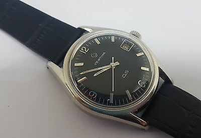 Rare Vintage Certina Ds Black Dial Date Automatic Man's Watch