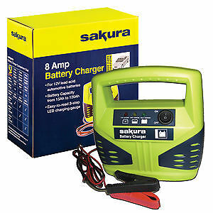Sakura Car Battery Charger 12 Volt 8 Amp Up to 2.5 L Cars –