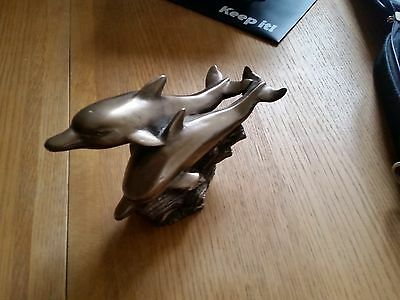 Frith Sculpture - A Pair of Dolphins - In Bronzed Cast Resin