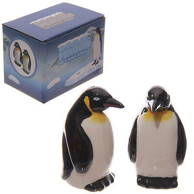 Cute Penguin Ceramic Salt and Pepper Set Dinning Table Kitchen & Home Gift Boxed