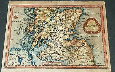 antique very old map Scotland i believe 6 x 8 inches