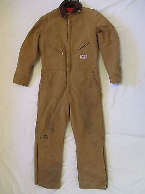Mens Size Large Regular Liberty Duck Brown Insulated Coveralls Winter Jumpsuit