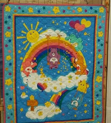 baby crib quilt.    CARE.  BEARS. (Rainbow)    WALL HANGING. NEW