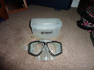 Tiguillo Scuba Dive Mask * Clear And Black *with Strong  Storage Box