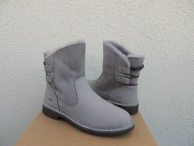 aff6d764d58 UGG NAIYAH PENCIL Lead Grey Leather/ Twinface Ankle Boots, Us 5/ Eur 36 ~Nib