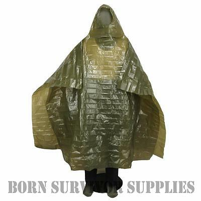 Norwegian Army Emergency Poncho - Large Green Waterproof Bushcraft Rain Cover