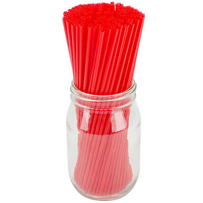 "1000 Red Collins Cocktail Straws 20cm 8"" Straight Thin Tall Drinking Straws"