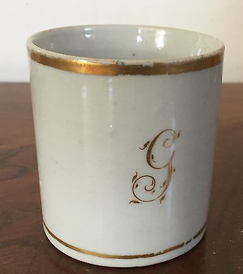 Antique 19th c. Drabware Porcelain Mug Coffee Can Tea Cup Monogrammed G 1810