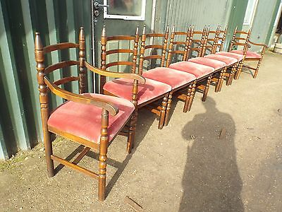 Set of Eight (6+2) Solid Oak Dining Chairs NO RESERVE