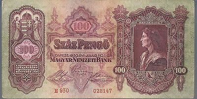 HUNGARY BANKNOTE 100 P98 1930 aEF