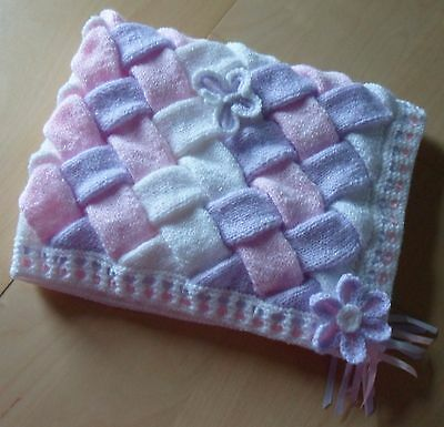 Hand Knitted Baby Blanket with Crocheted Flowers & Butterflies- Pink Lilac White