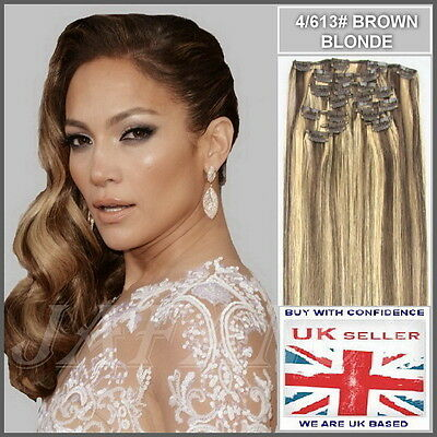 """15"""" Full Head Clip in Remy Human Hair Extensions 4/613# Brown/Blonde"""