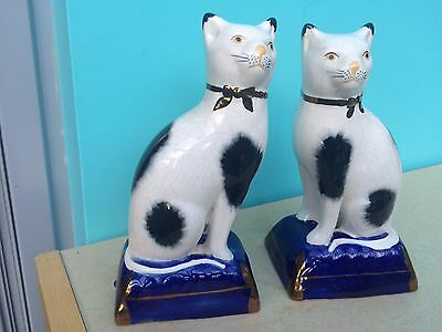 Antique Pair of Staffordshire Black and white Cat Ornaments