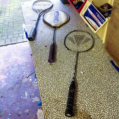 Selection of 3 badminton rackets. Geoff Hunt's, Steller and Kennex