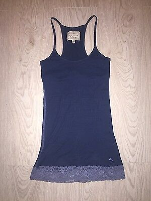 abercrombie and firch size s 6 navy blie lace vest crop top t-shirt
