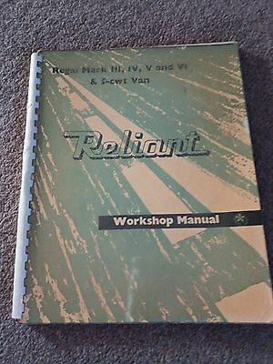 Reliant Workshop Manual for the Regal Mark III, IV, V and VI & 5cwt Van