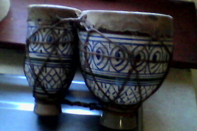 Traditional Hand Painted Turkish Pottery Bongos