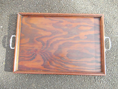Vintage Wooden Tray With Metal Handles