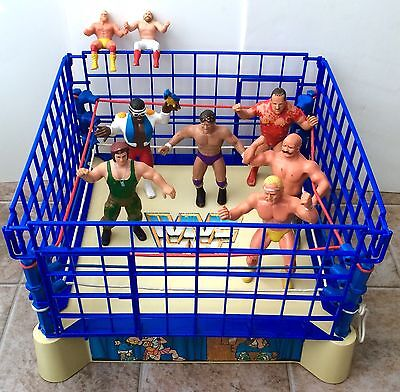 WWF WWE LJN 1985 Sling-Em Fling-Em Wrestling Ring With Steel Cage & Figures!