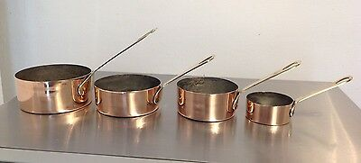 Vintage Set Of 4 Small Copper And Brass Saute Pans Saucepans Tin Lined