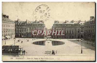 CPA Rennes Place du Palais et Rue Edith Cavell Tramway Biscuits Pernot