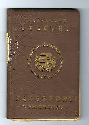 Judaica Hungary Emmigration Passport Cancelled - Not Valid To Israel 1948