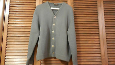 Vtg 1950s 60s Mens Columbia knit Thunderbird Sweater 100% Wool Cardigan Size L
