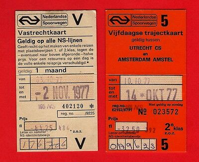 NS Nederlandse Spoorwegen - 2 Tickets: Five Day Season & 50% Discount Card: 1977
