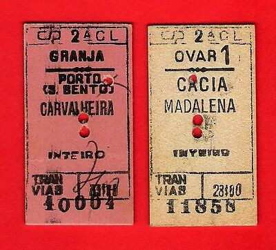 Portuguese Railways - CP Comboios de Portugal - 2 Edmondson Style Tickets: 1980s