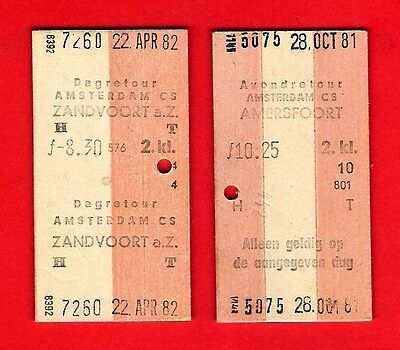 NS Nederlandse Spoorwegen - 2 Multiprinter Tickets from Amsterdam Centraal 1980s