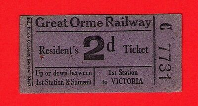 Great Orme Railway - 2d Residents Ticket - Cafe Royal: Llandudno: 1950s/60s