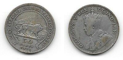 1911 EAST AFRICA silver  50 cents
