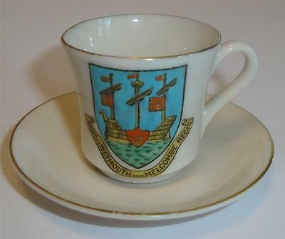 Grafton China Miniature Crested Cup & Saucer Weymouth & Melcombe Regis