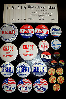 22 Whitley County Indiana Campaign Pins 5 Columbia City Indiana & 9 Rally Cards