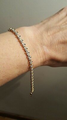 Delicate Solid 9ct Yellow Gold Tennis Bracelet 7.5""