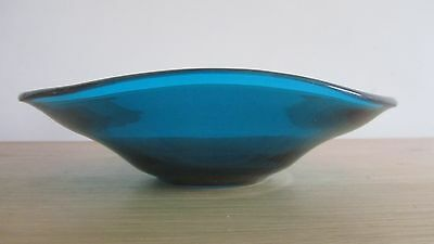 Vintage 60s Sowerby art glass glass dish blue/green handblown
