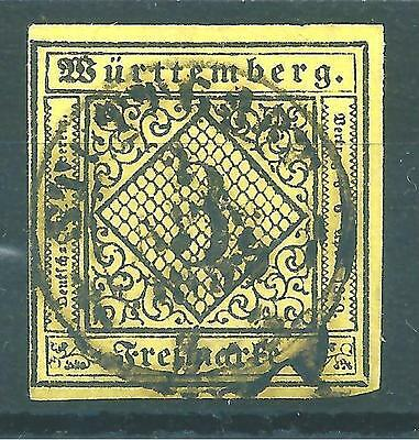 German States Wurttemberg 1851, SG: 3, very fine used.