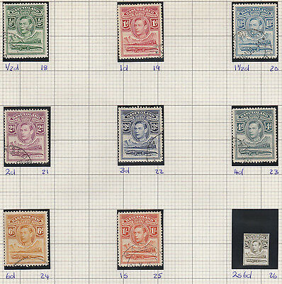 Basutoland stamps 1938 King George VI Fine used to 1s. SG 18-25