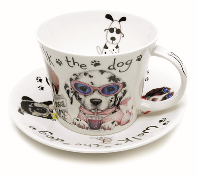 Roy Kirkham Animal Fashion Bone China Breakfast Cup & Saucer Dog Lovers Gift