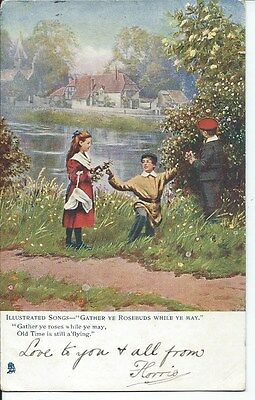 ILLUSTRATED SONGS Postcard Gather ye Rosebuds While Ye May Children 1904 Norwich