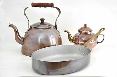 Vintage Copper Plated Kettle, Teapot and Fish Pan