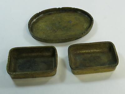 Antique Vintage Chinese Asian Brass Ashtray ? Ink Dish Calligraphy ? Lot of 3