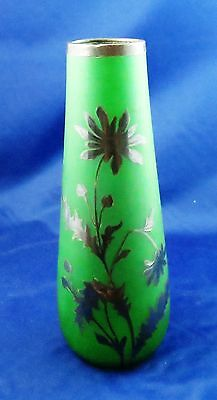 Fine Art Deco Frosted Satin Green Glass Thistle Sterling Overlay Vase 9 1/4 ""
