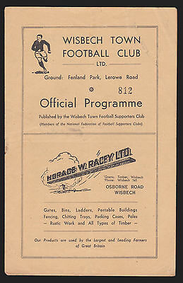Wisbech Town v Cambridge Town - 1948/49 East Anglian Cup - Programme