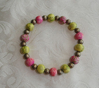 Viva Beads Hand Painted Stretch Clay Bracelet Yellow and Pink