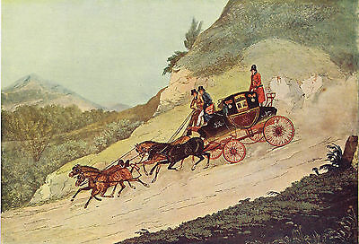 Royal Mail Coach by R.Havell after James Pollard Antique 1908 Print