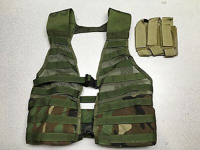 US Army MOLLE II FLC Fighting Load Carrier Vest Woodland Tactical LBV w Pouch
