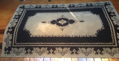 Large Persian Style Wool Black & Cream Colour Rug Rectangle Bargain!