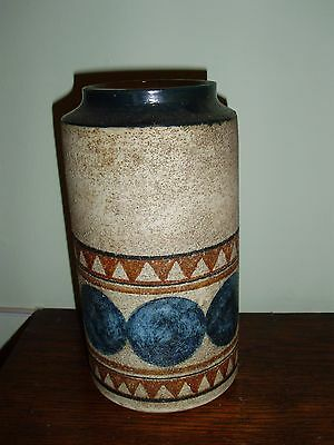 Troika Pottery - LARGE LIPPED CYLINDER  VASE - Decorated by Marilyn Pascoe