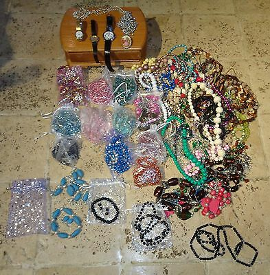 Mostly New A Huge Job Lot Bundle Of Bling Costume Jewellery Watches 5 Kilos